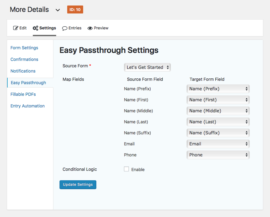 Map fields with Easy Passthrough