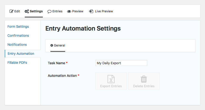 Entry Automation initial task settings