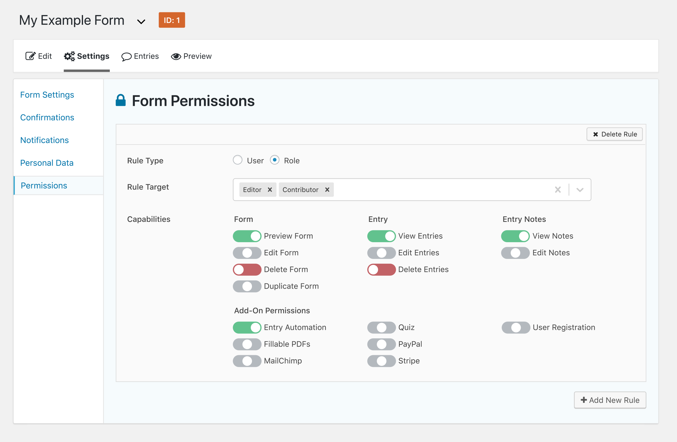 Advanced Permissions interface