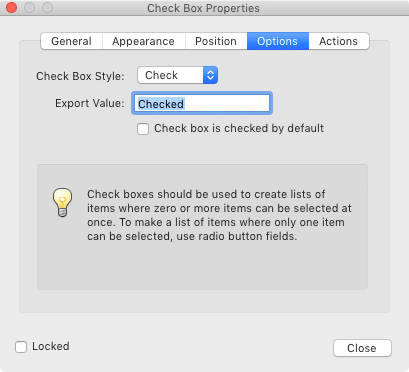 Adobe Acrobat Check Box Properties Dialog