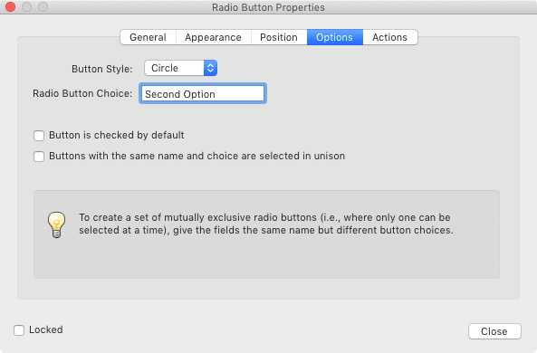 Adobe Acrobat Radio Button Properties Dialog