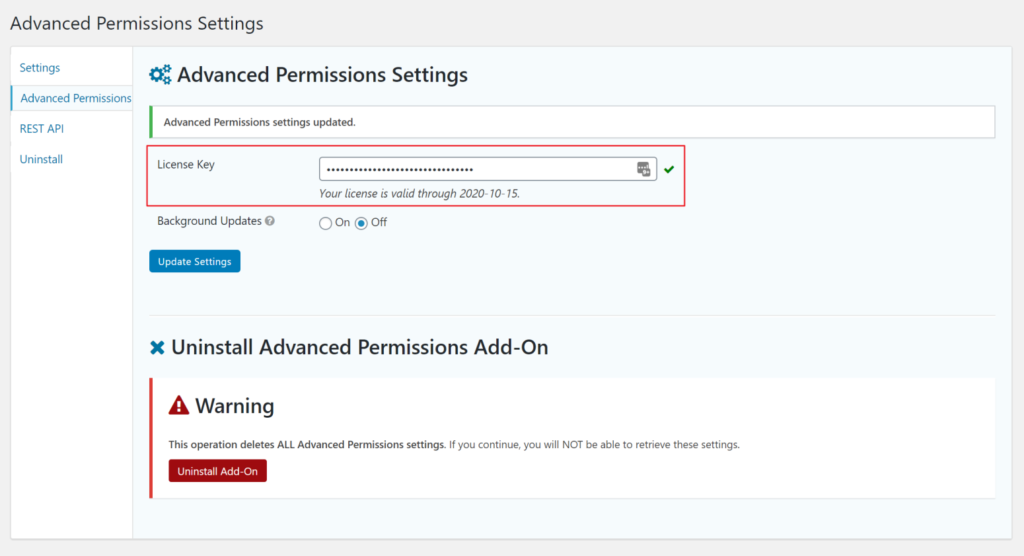 Advanced Permissions plugin license key field