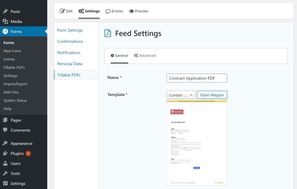 Open WordPress fillable PDf mapper