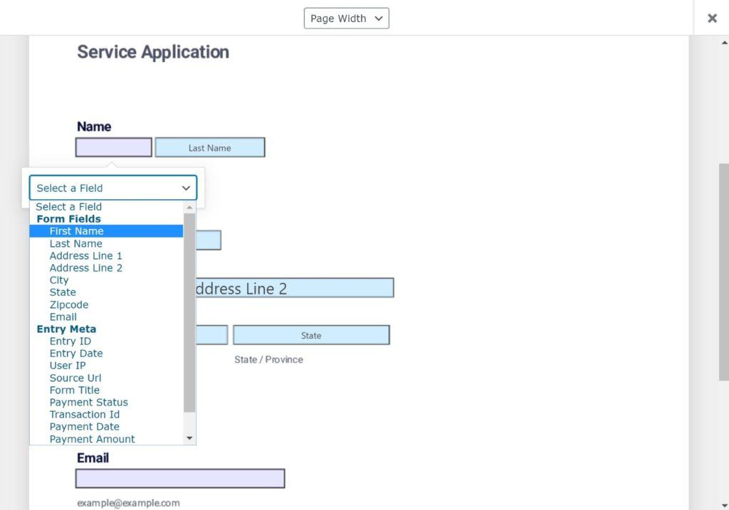 Map fields to WordPress fillable PDF