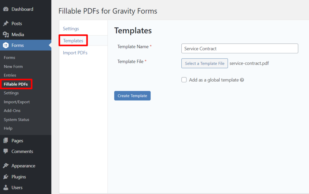 Add PDF template