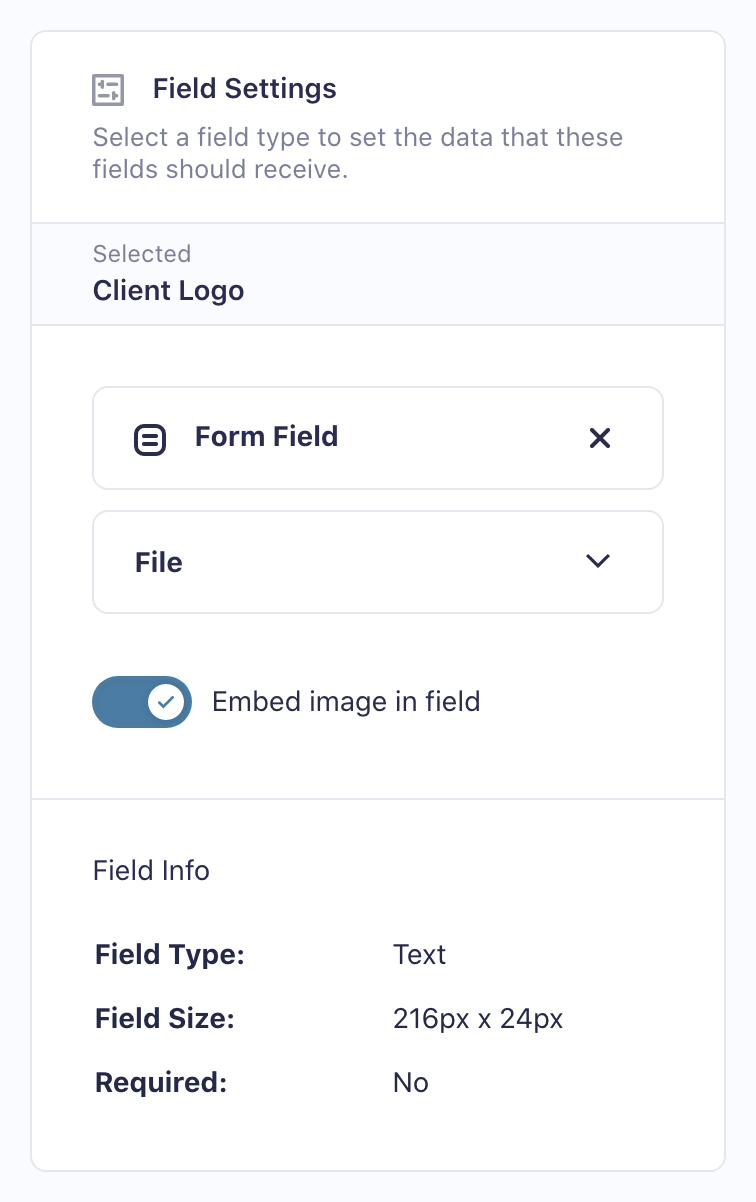 Embed image in PDF field