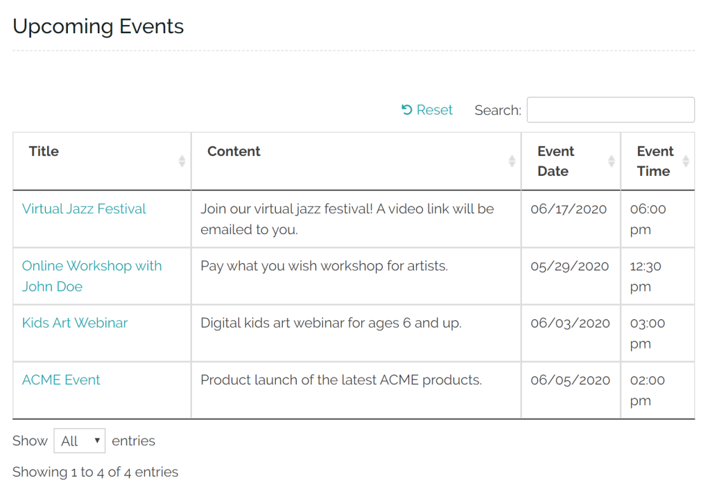 Events listed in WordPress front-end post table