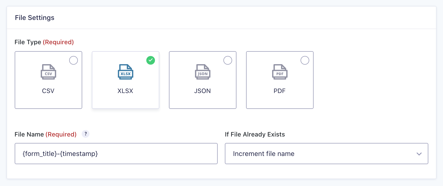 Entry Automation Export File Formats