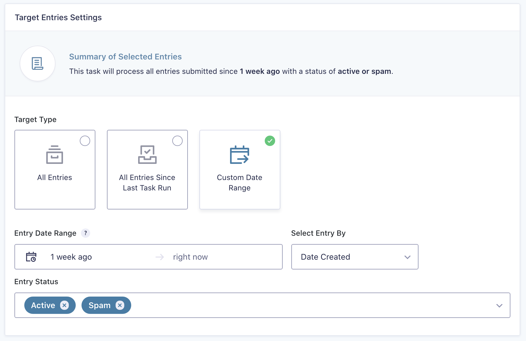 Entry Automation Target Entries Settings